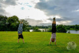 Handstands outside Linlithgow Palace